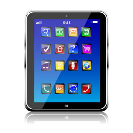 Tablet PC with blue touchscreen and colorful apps isolated Векторная Иллюстрация