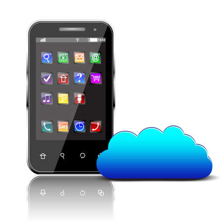 Smartphone with colorful apps and cloud computing symbol isolated