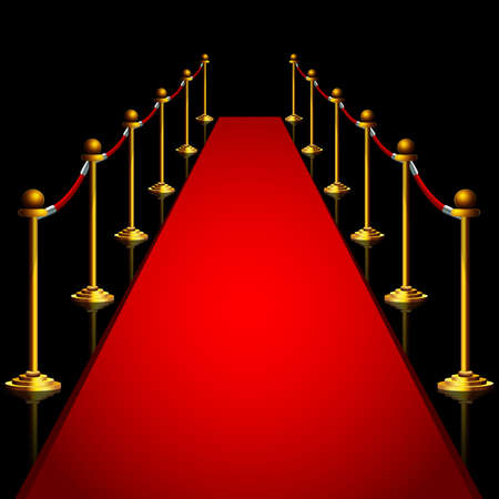 Red carpet and gold stanchoins at night isolated Ilustracje wektorowe