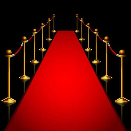 Red carpet and gold stanchoins at night isolated Vektoros illusztráció