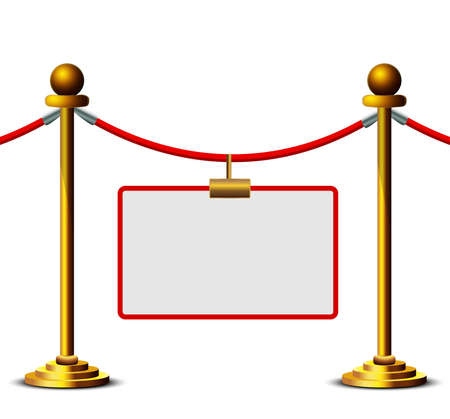 Gold stanchions with place for your text on white background