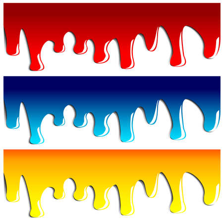 Drips of paint in red blue and yellow isolated