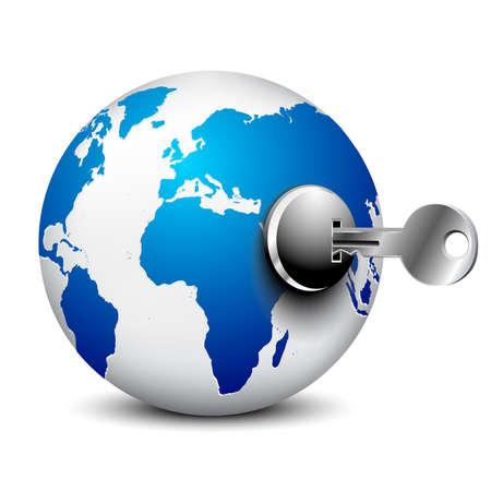 World globe and key on white background. Isolated 3D image