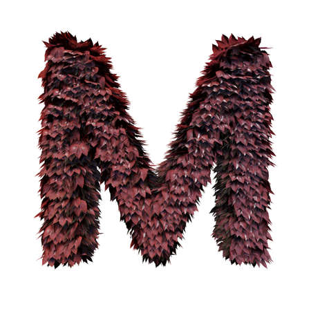 Foliage Letter M, 3D Rendering