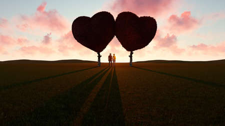 Romantic young couple under heart shaped trees, 3D rendering Stock Photo