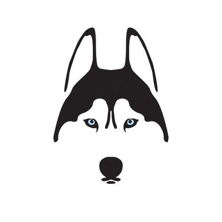 Husky black and white logo Illustration