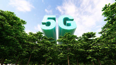 5G Technology Networks Concept, 3D rendering