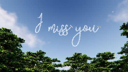 Skywriter schreibt die Worte Ich vermisse dich in den blauen Himmel, 3D-Rendering Standard-Bild