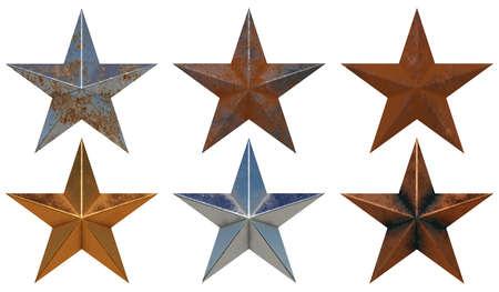 Seis estrellas de metal realistas diferentes aisladas sobre fondo blanco 3D rendering