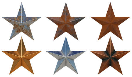 Sześć różnych realistycznych metalowych gwiazd na białym tle renderowania 3D