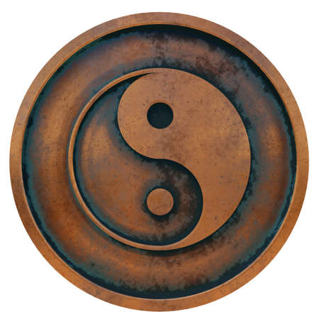 Taoism symbol on the copper metal coin 3D rendering