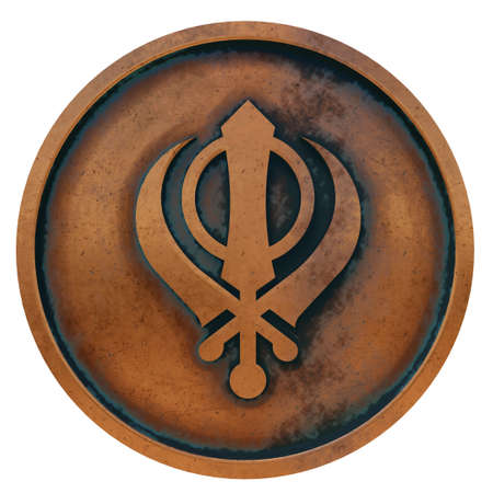 Sikhism symbol on the copper metal coin 3D rendering