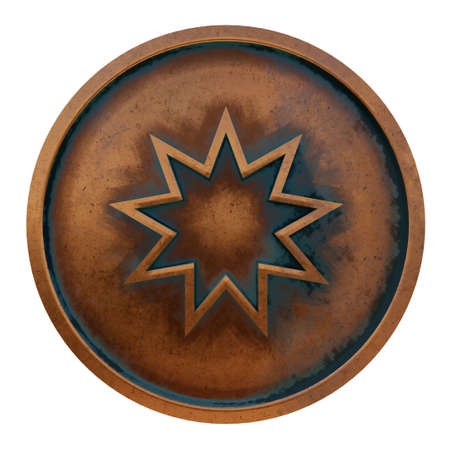 Bahai symbol on the copper metal coin 3D rendering