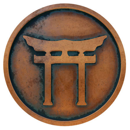 Shinto symbol on the copper metal coin 3D rendering Stock Photo