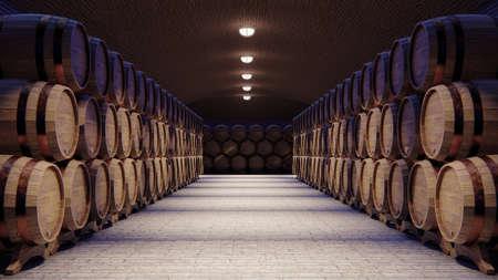 Bodega con grandes barriles de madera, render 3d Foto de archivo