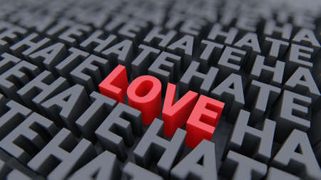 Love or hate words red and black 3D rendering