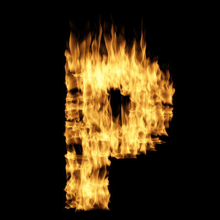 Flame letter isolated on the black background