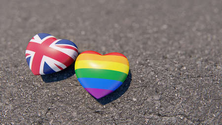 Two hearts Great Britain and LGBT on the asphalt, 3D rendering