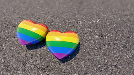Two LGBT hearts on the asphalt, 3D rendering