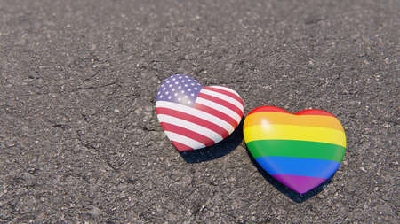 Two hearts USA and LGBT on the asphalt, 3D rendering