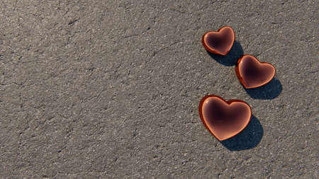 Happy Valentines Day card with copper hearts  on asphalt background, 3D rendering Reklamní fotografie