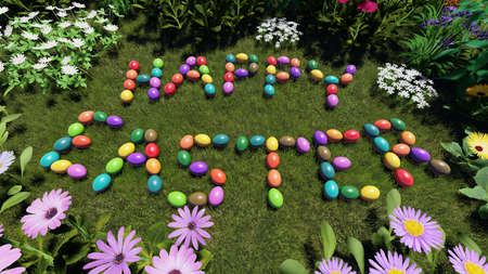 Easter eggs hiding in the grass 3D rendering