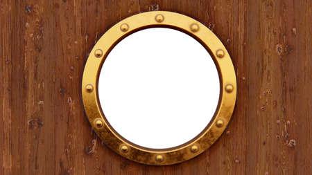 Boat porthole with woody background isolated