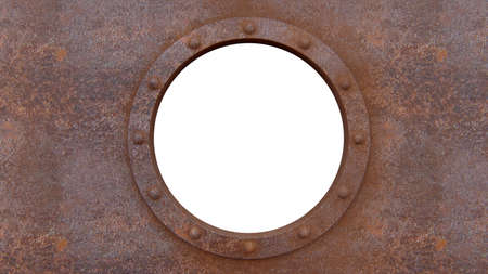 Round rusty metal frame isolated on the white Standard-Bild