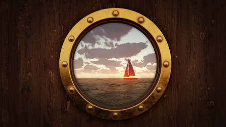 Ship porthole and sailing boat float on the water