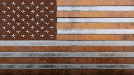 Old metal USA flag bronze, copper, aluminium, iron Standard-Bild