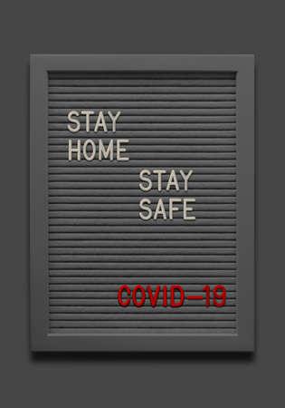 Black massage board Stay home Stay safe Covid-19 Coronavirus