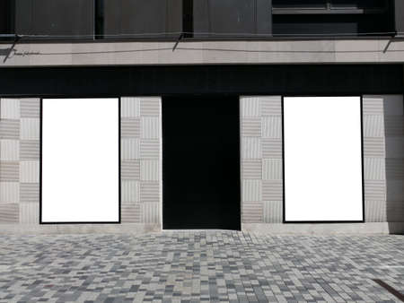 Two big blank billboard in Copenhagen walking street