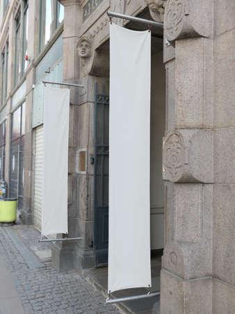 Two blank banners in the walking street in Copenhagen