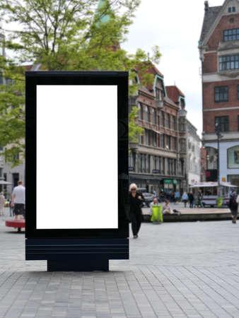 One blank billboard in Copenhagen, walking street