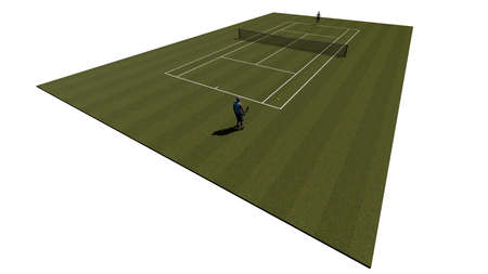 Top of the grass tennis court with players
