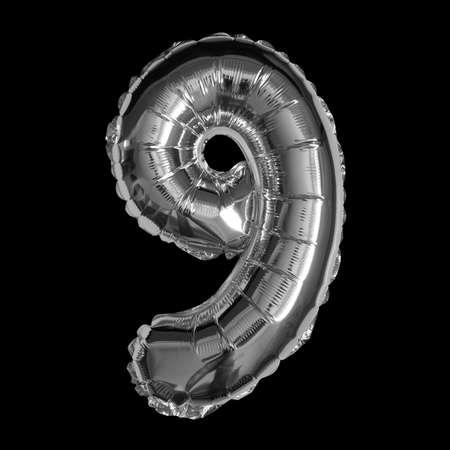 Silver Foil Balloon - 3D Number 9 Standard-Bild