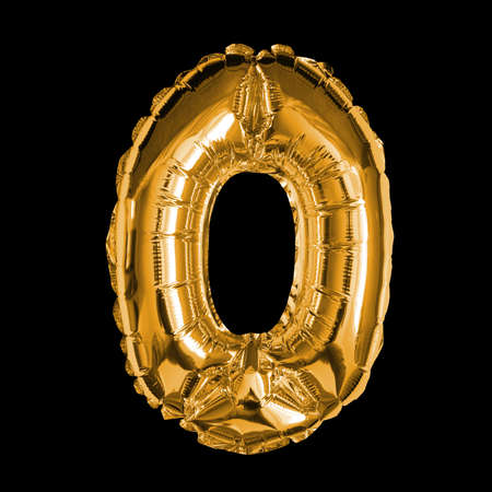 Gold Foil Balloon - 3D Number 0 Banque d'images - 148937220