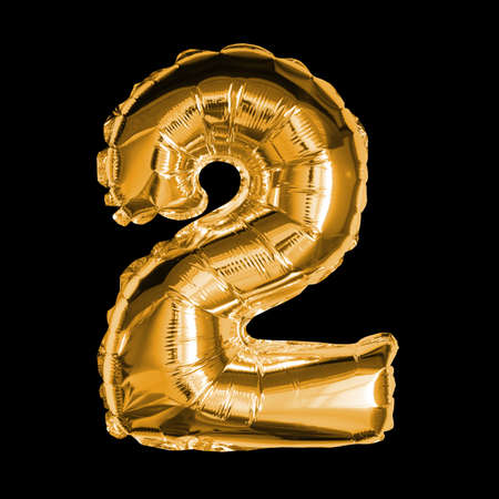Gold Foil Balloon - 3D Number 2