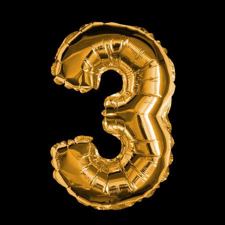 Gold Foil Balloon - 3D Number 3