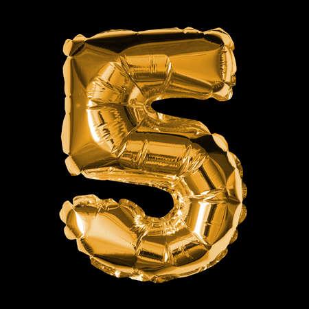 Gold Foil Balloon - 3D Number 5 Standard-Bild
