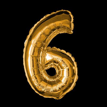 Gold Foil Balloon - 3D Number 6 Standard-Bild