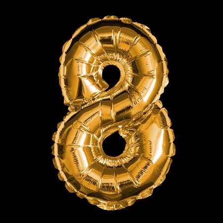 Gold Foil Balloon - 3D Number 8 Banque d'images - 148937259