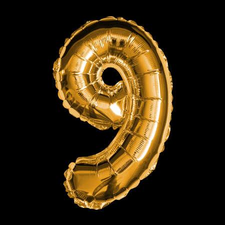 Gold Foil Balloon - 3D Number 9