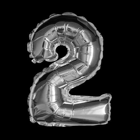 Silver Foil Balloon - 3D Number 2 Standard-Bild