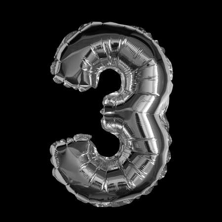 Silver Foil Balloon - 3D Number 3