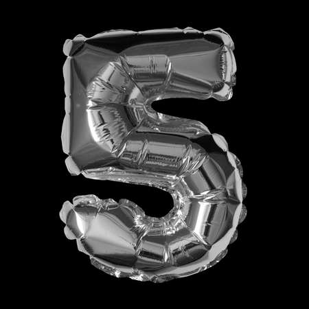 Silver Foil Balloon - 3D Number 5