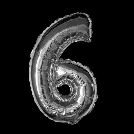Silver Foil Balloon - 3D Number 6 Standard-Bild