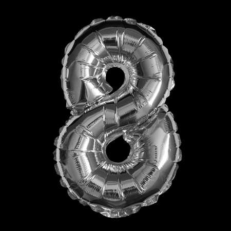 Silver Foil Balloon - 3D Number 8
