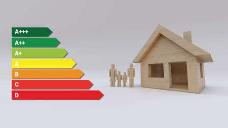 Energy efficient home of wood 3D rendering Standard-Bild