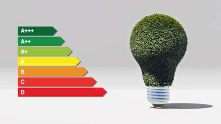 Energy efficient green bulb 3D rendering